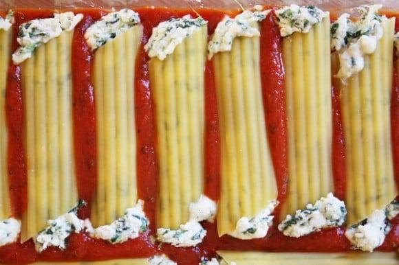 Spinach & Cheese Stuffed Manicotti