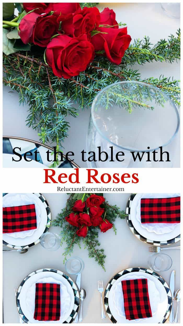 Set the table with Red Roses