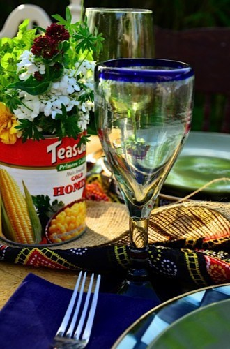 Repurposed cans for fiesta tabletop