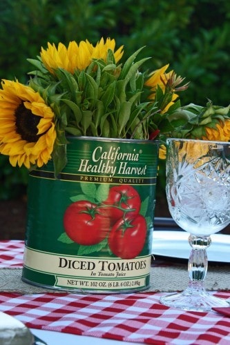 Repurposing a can for flower vessel