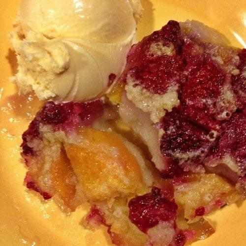 Peach Cobbler with Raspberries