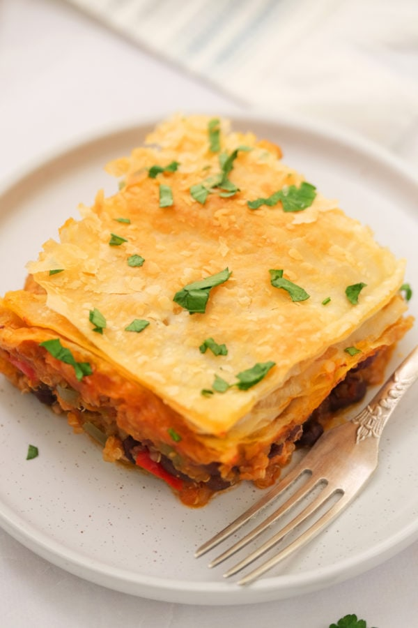 chili pot pie on a plate