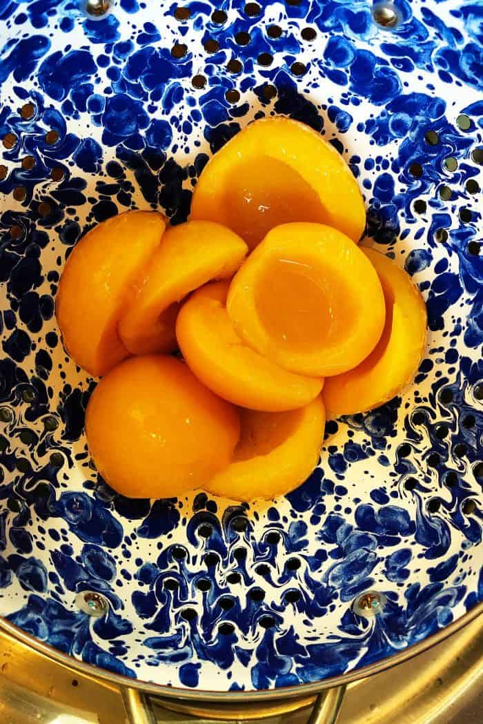 Making Peach Upside Down Cake for Dinner Guests - canned peaches