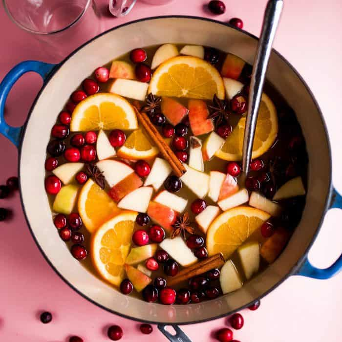 festive pot of Pioneer Woman's Mulled Apple Cider Recipe
