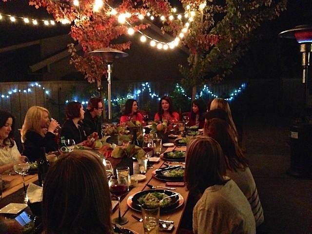 Blogger dinner in backyard