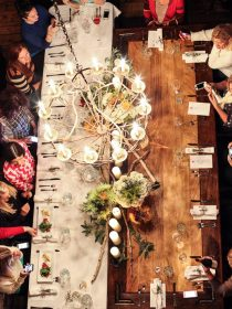 Wood and Linen Tablescape