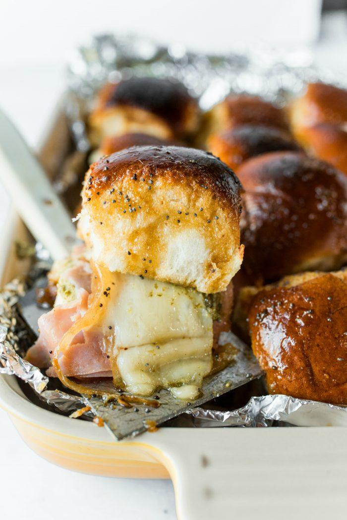 BEST Ham Pesto Onion Cheese Poppyseed Sliders