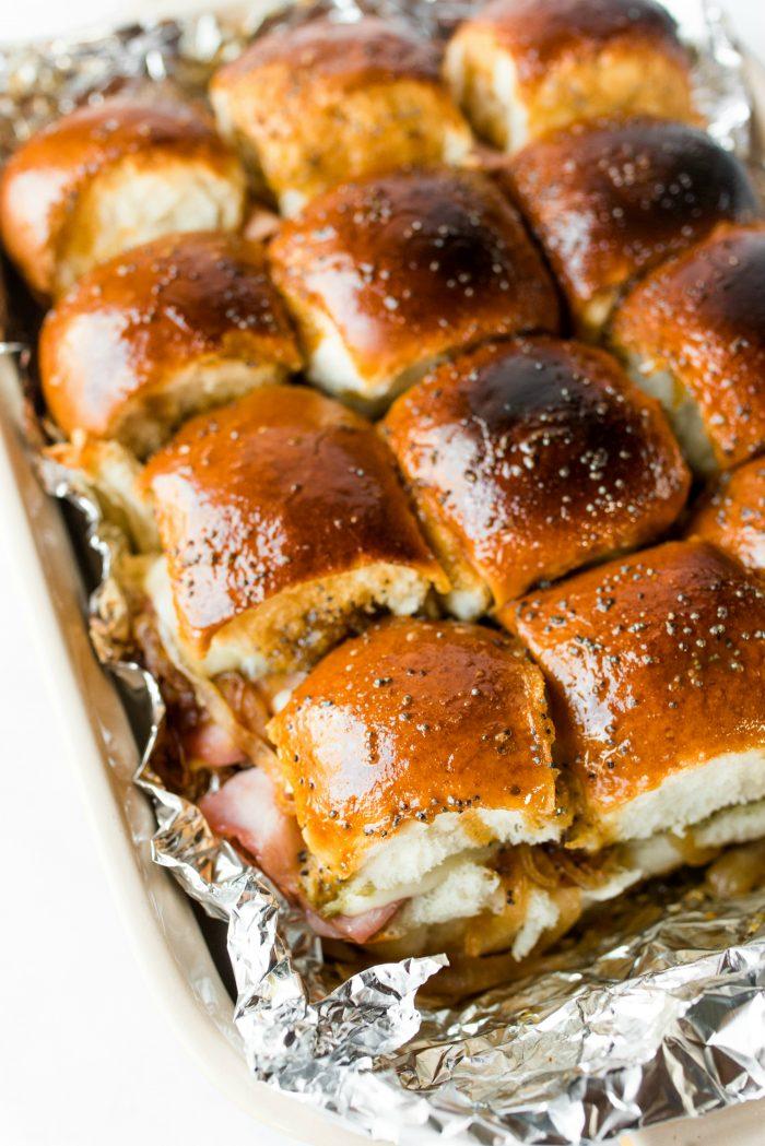 MOIST Ham Pesto Onion Cheese Poppyseed Sliders