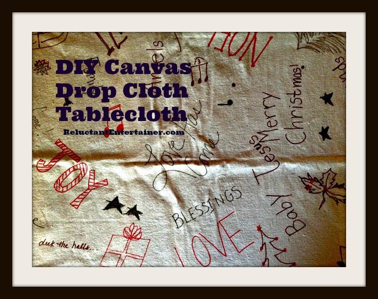 DIY Canvas Drop Cloth Tablecloth