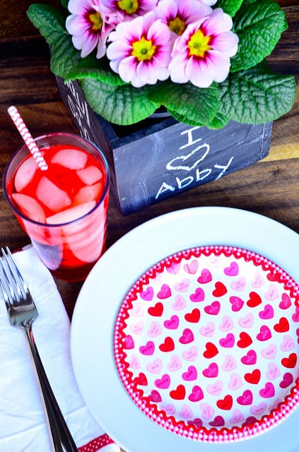 Setting Valentine's Day table and Classic Shirley Temple Drink