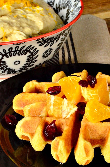 Gluten-Free and Dairy-Free Waffles with Cranberries and Orange