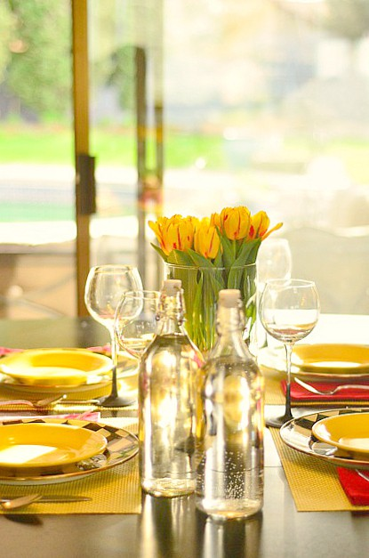 Simple Entertaining with Red and Yellow Tulip Tabletop