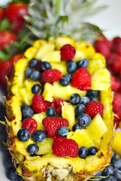 4 Ingredient Fruit Salad Platter And A Pineapple Boat
