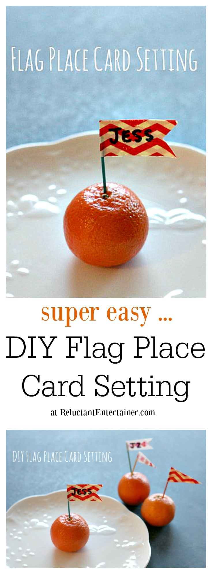 DIY Flag Place Card Setting at ReluctantEntertainer.com