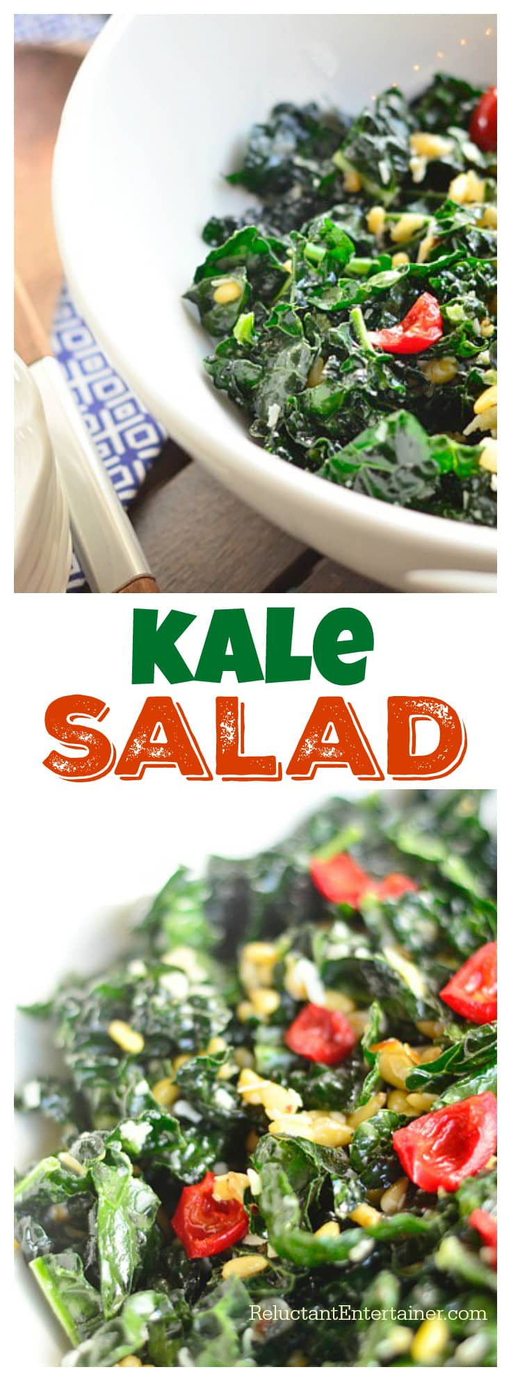 This Kale Salad has delicious flavors of garlic, shallots, pinenuts, sweet red peppers, and curly kale, with a lemon juice and Parmesan cheese dressing!