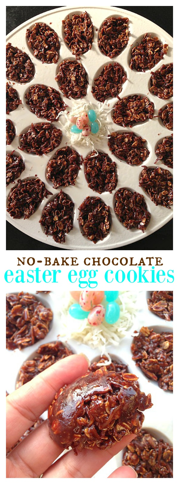 No Bake Chocolate Easter Egg Cookies are a fun DIY for kids and Easter treat!