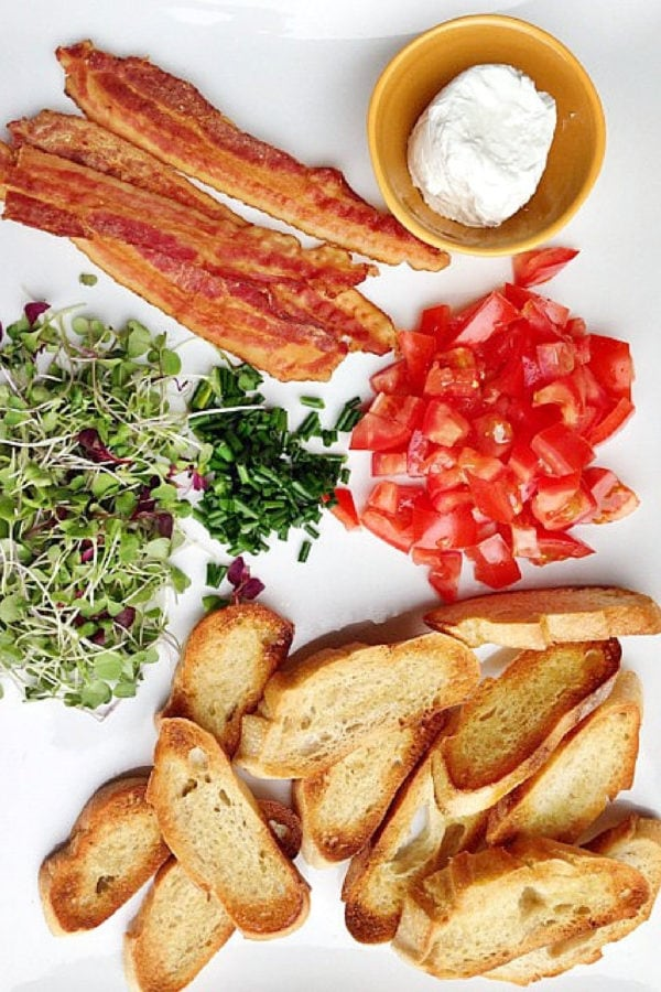 ingredients for Goat Cheese Bacon Crostini