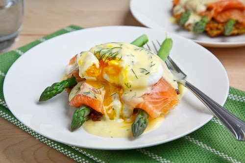 Smoked Salmon Asparagus Quinoa Cake Eggs Benedict from Closet Cooking