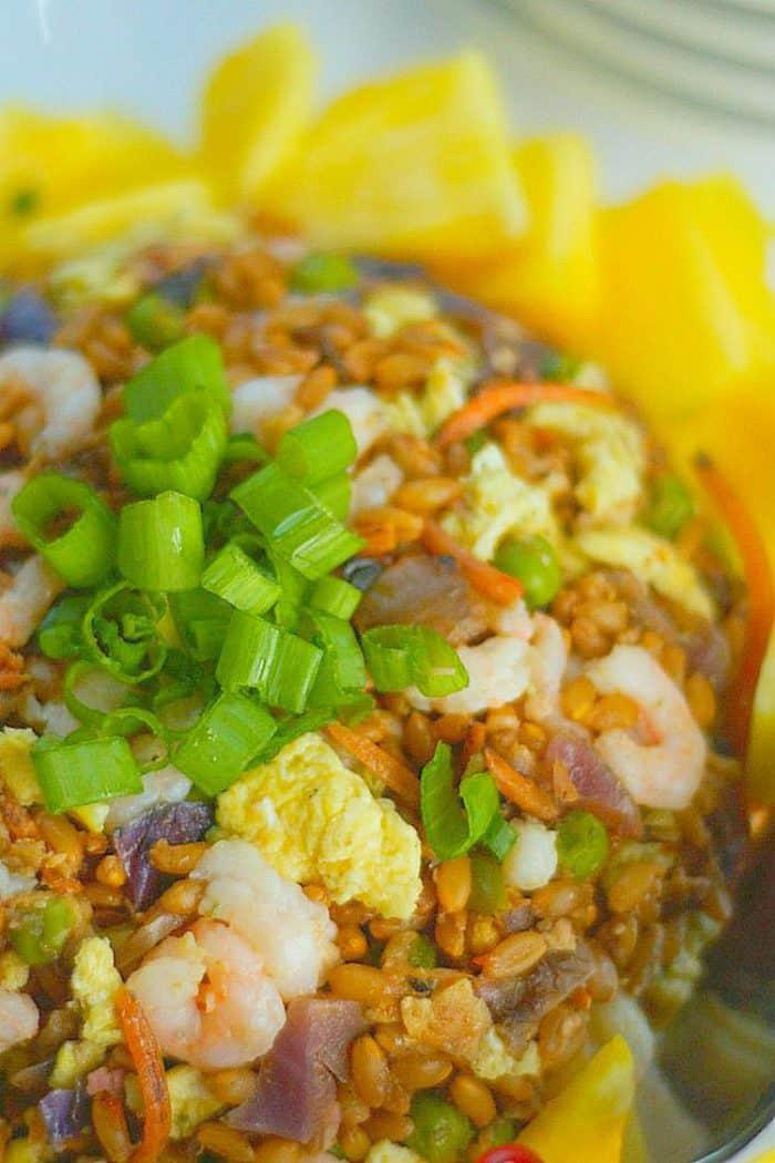 Pineapple Baby Shrimp Farro Fried Rice