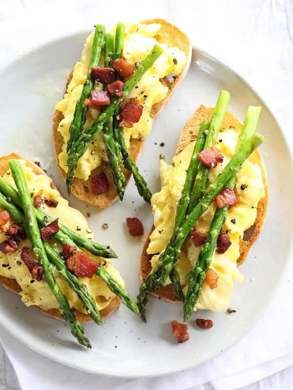Scrambled Egg and Roasted Asparagus Toasts from Foodie Crush