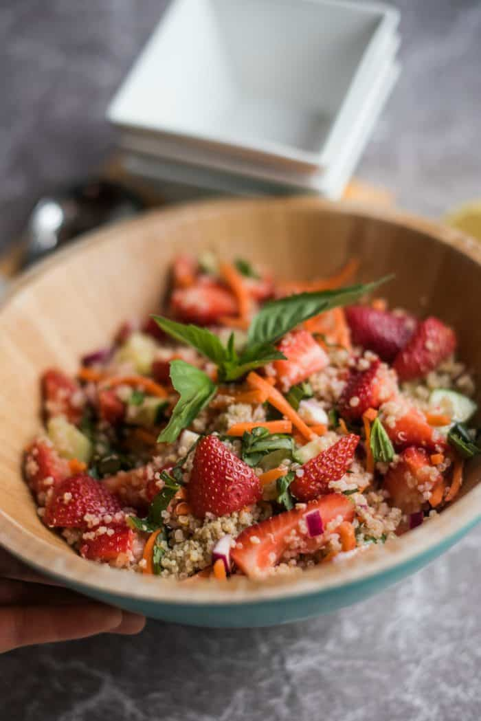 BEST Strawberry Quinoa Salad with Fresh Basil