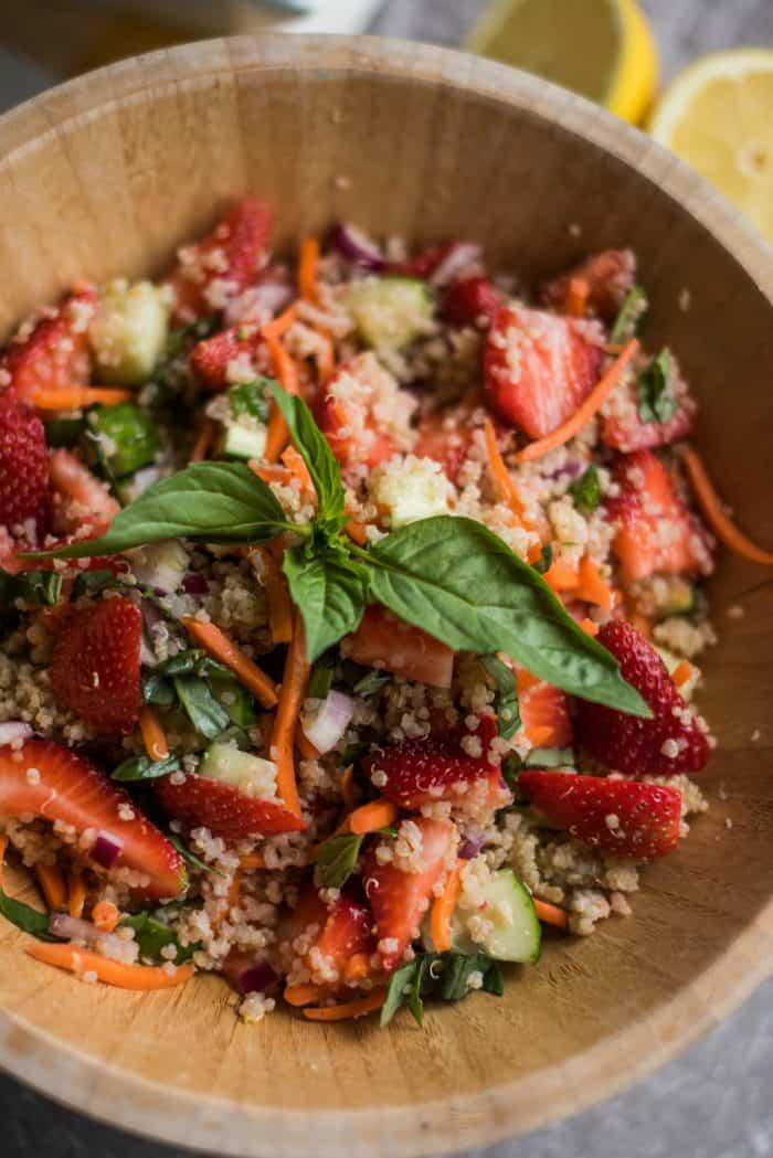 BEST Strawberry Quinoa Salad with Fresh Basil Recipe