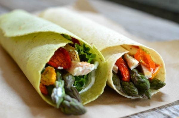 Chicken and Asparagus Wraps with Dill Cream Cheese from Mountain Mama Cooks