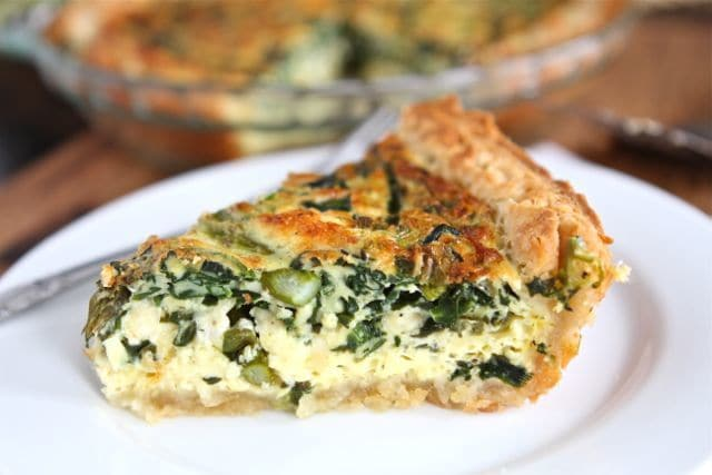 Asparagus, Spinach, and Feta Quiche from Two Peas and Their Pod