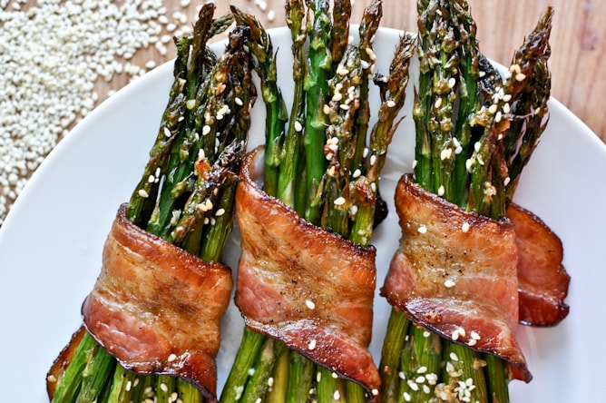 Bacon Wrapped Caramelized Sesame Asparagus from How Sweet it is