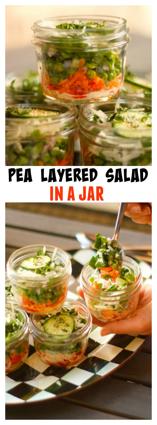 Pea Layered Salad in a Jar