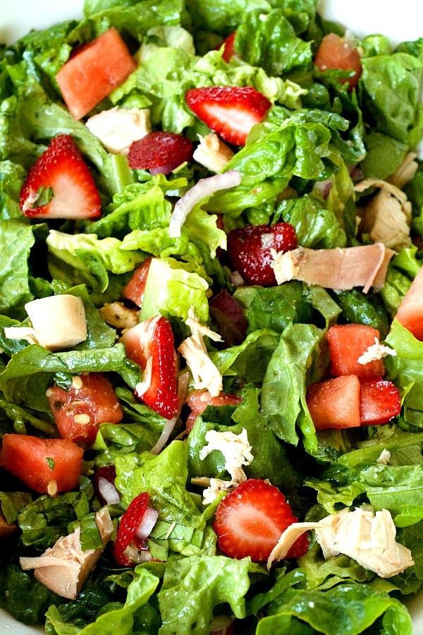 Easy Strawberry Watermelon Chicken Salad