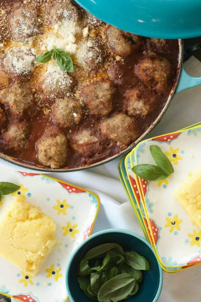 Saucy Turkey Meatballs on Polenta