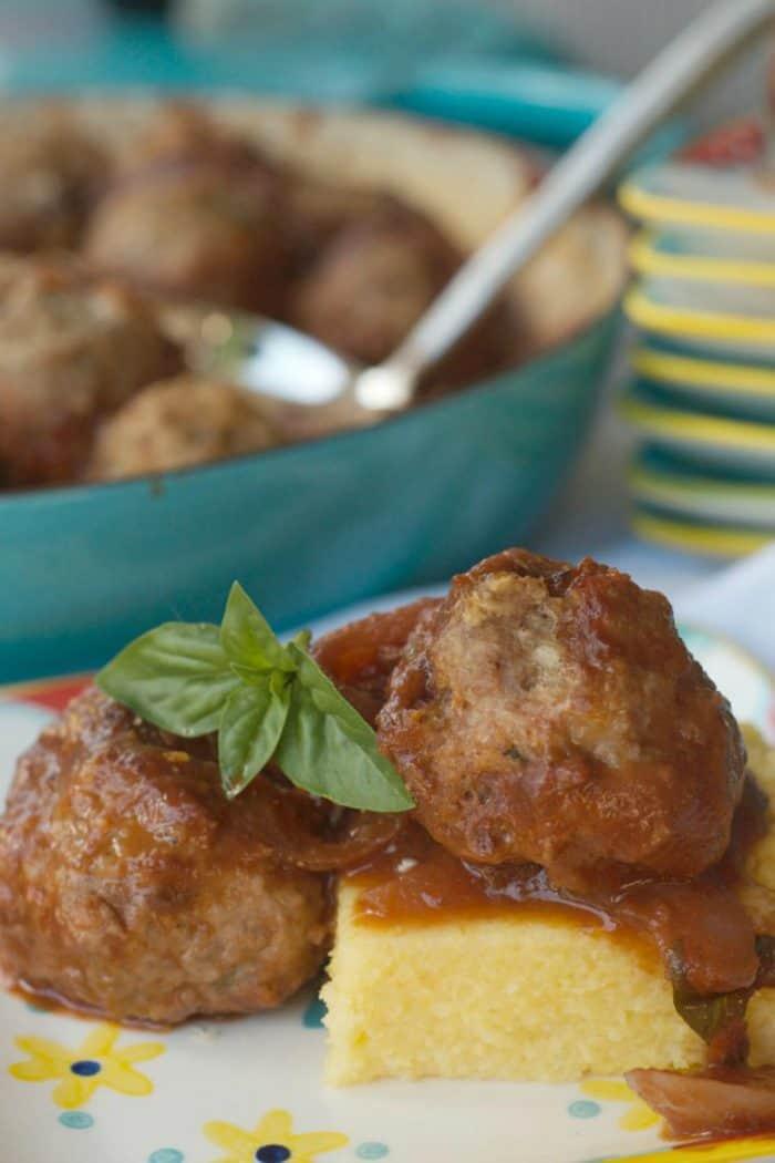 BEST Baked Turkey Meatballs on Polenta