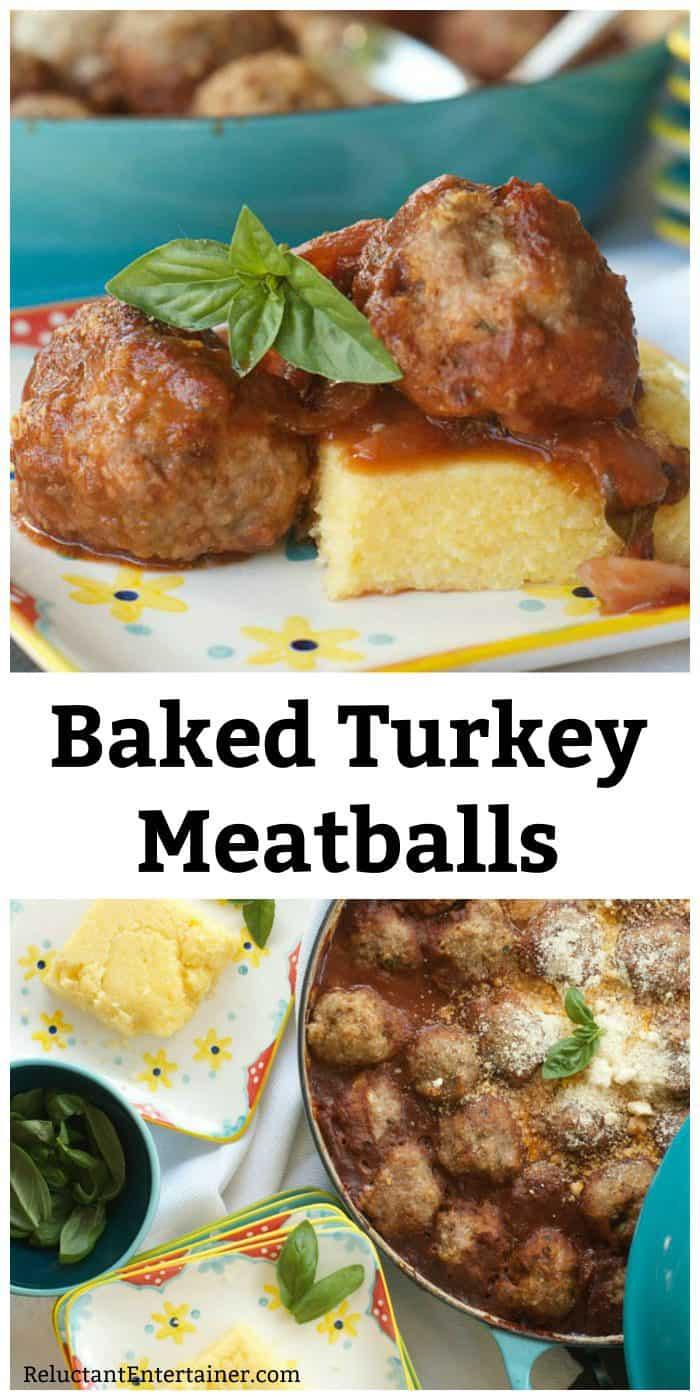 Baked Turkey Meatballs on Polenta Recipe