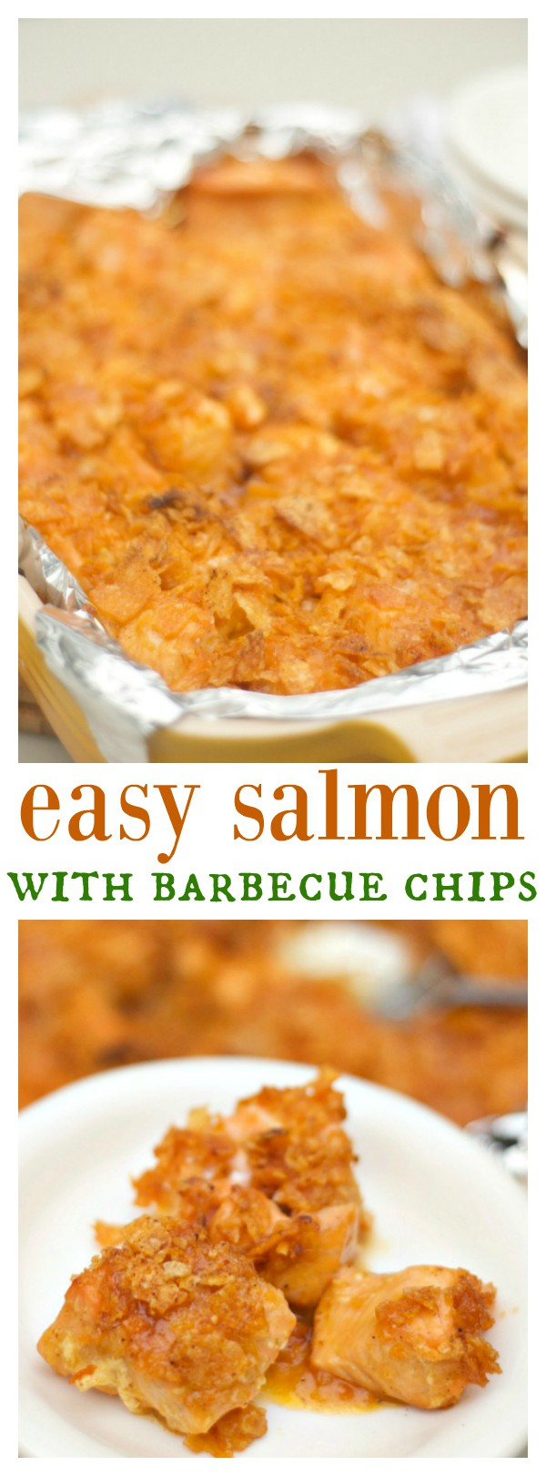 Easy Salmon with Barbecue Chips that even kids love!