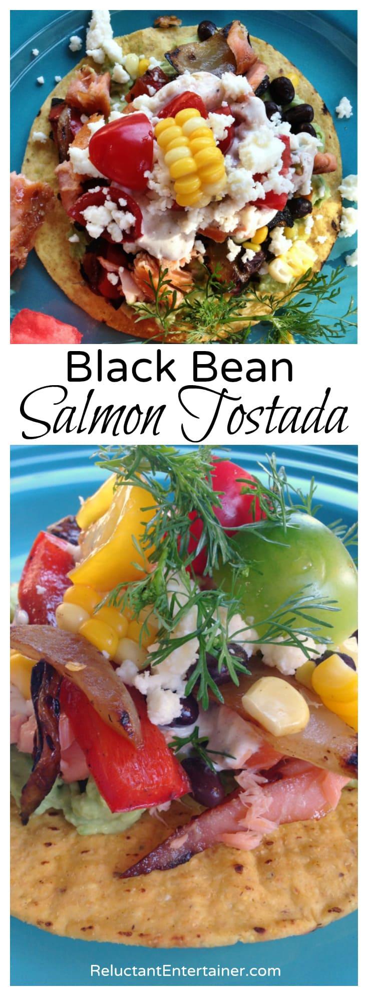 Black Bean Salmon Tostada