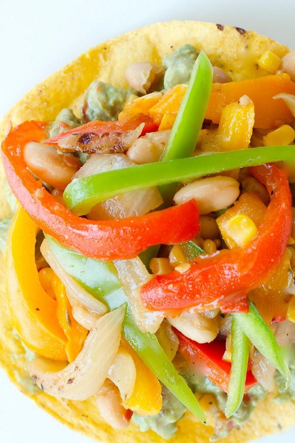 Vegetarian Tostadas with Green Pepper Hot Sauce