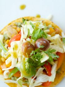 Vegetarian Tostadas with Green Pepper Hot Sauce