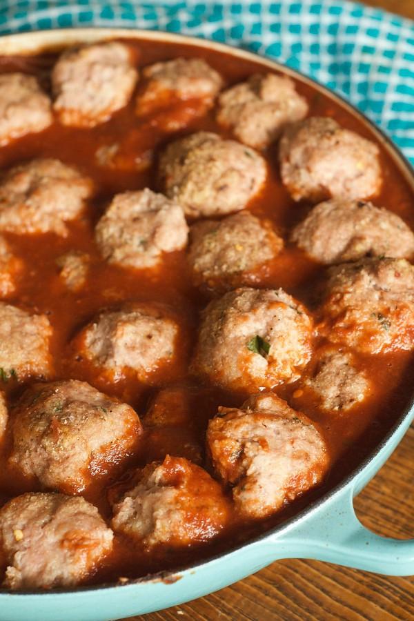 Baked Turkey Meatballs - in sauce