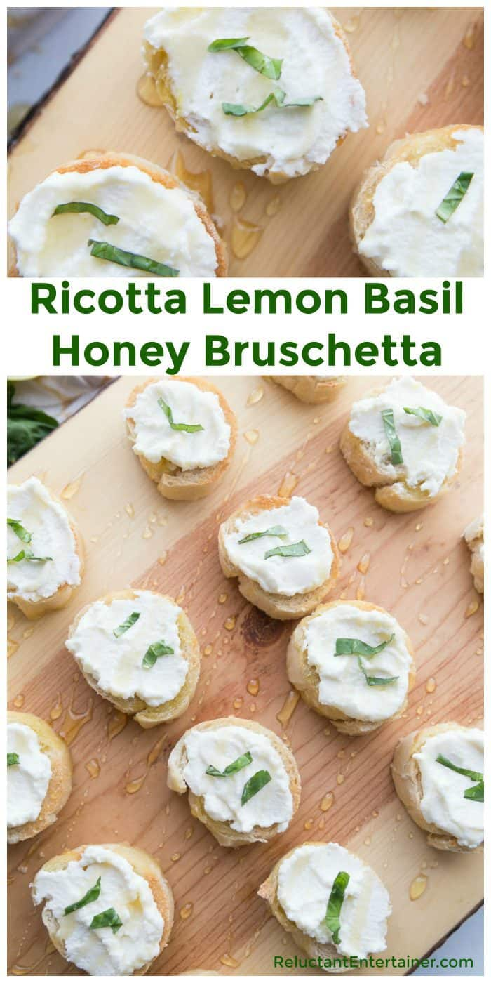 Ricotta Lemon Basil Honey Bruschetta Recipe