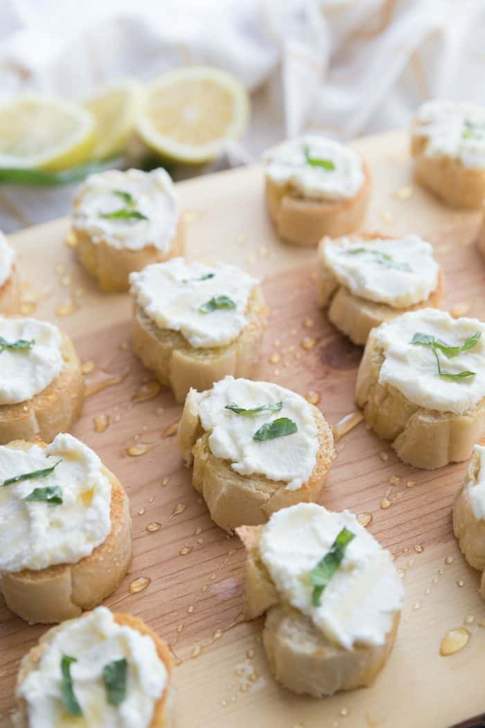 Tasty Ricotta Lemon Basil Honey Bruschetta