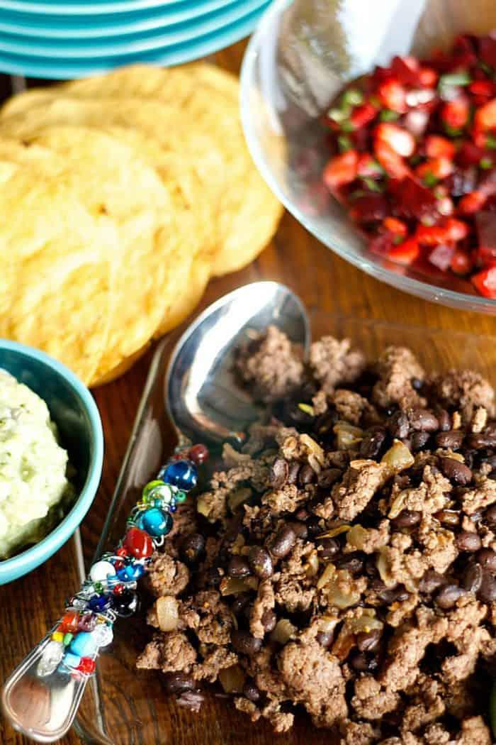 Best Beef Bean Tostadas with Strawberry Beet Salsa