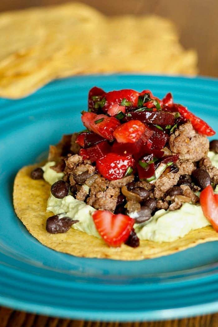 Beef Bean Tostadas with Strawberry Beet Salsa