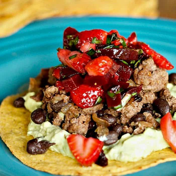 Easy Beef Bean Tostadas with Strawberry Beet Salsa