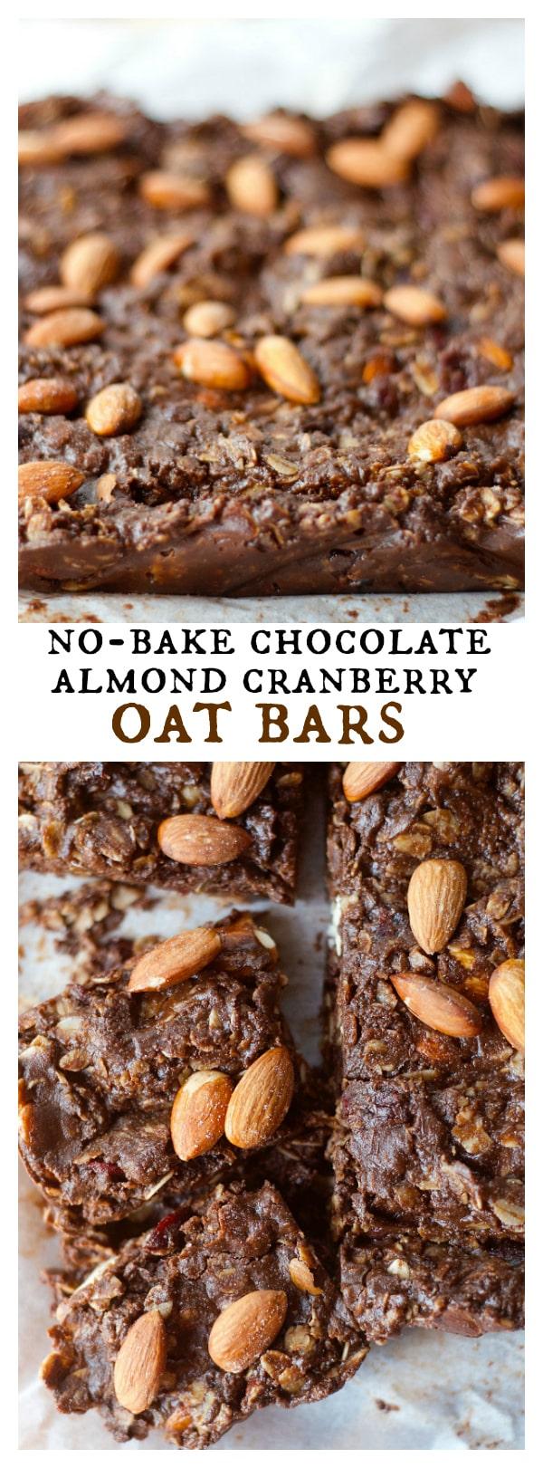 NO-Bake Chocolate Almond Cranberry Oat Bars