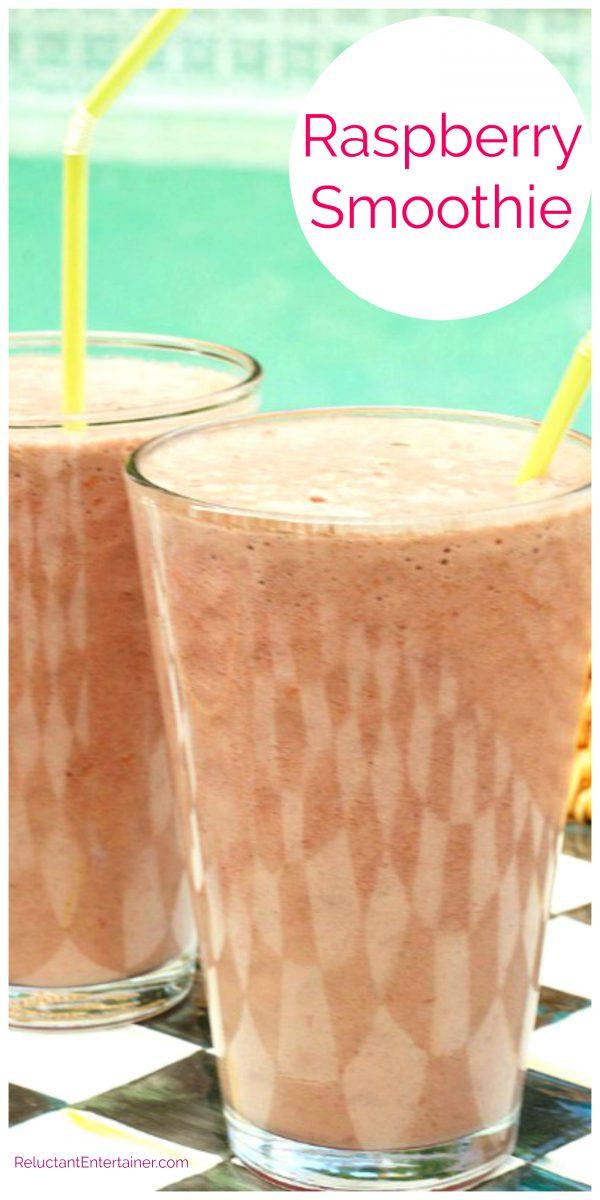 2 glasses of raspberry smoothies