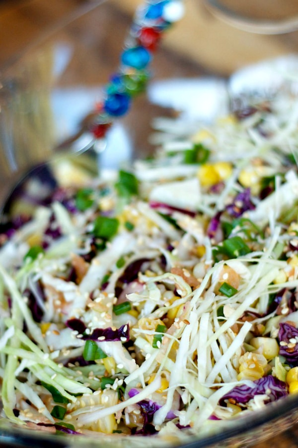 Sweet Asian Slaw with Apple and Corn