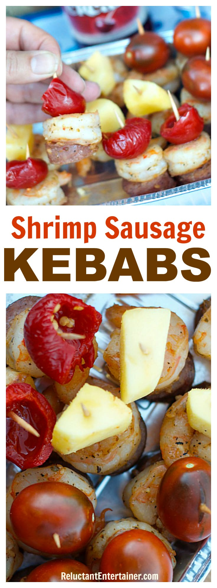 Shrimp Sausage Kebabs for tailgating or game day parties, picnics, or easy entertaining!