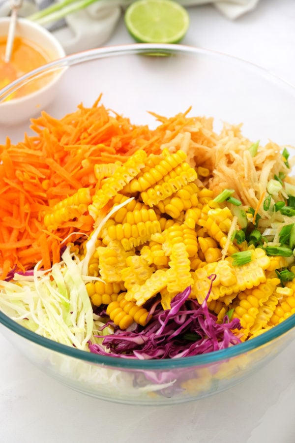 deconstructed Sweet Asian Slaw with Apple and Corn