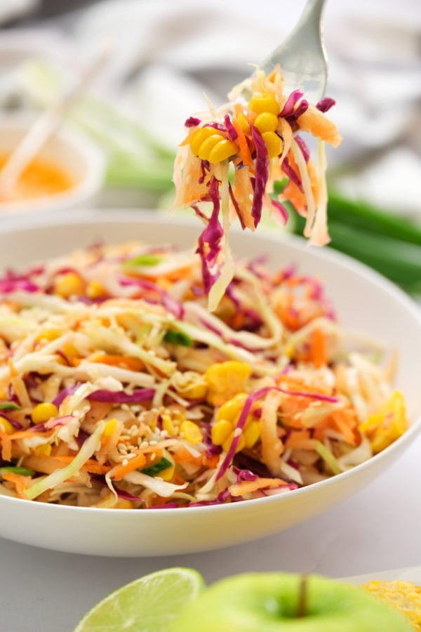 spoonful of Sweet Asian Slaw with Apple and Corn